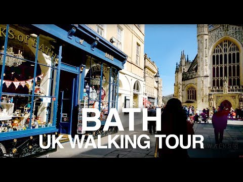 [4K] Bath England Walking Tour - River Avon, Roman Baths & Royal Crescent