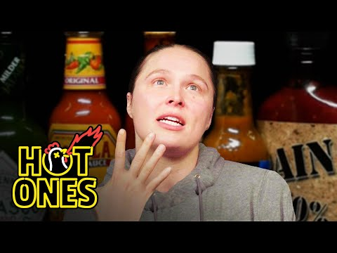 Ronda Rousey Splits Bones While Eating Spicy Wings | Hot Ones