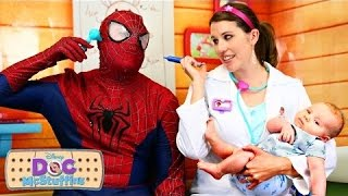 SPIDERMAN is Sick! Goes to Hospital with Baby Dr Sandra Funny Superheroes & Doc McStuffins Prank