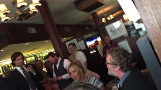 Amy Schumer in Irish singalong with Glen Handsard and Judd Apatow for newlyweds in Dublin pub.