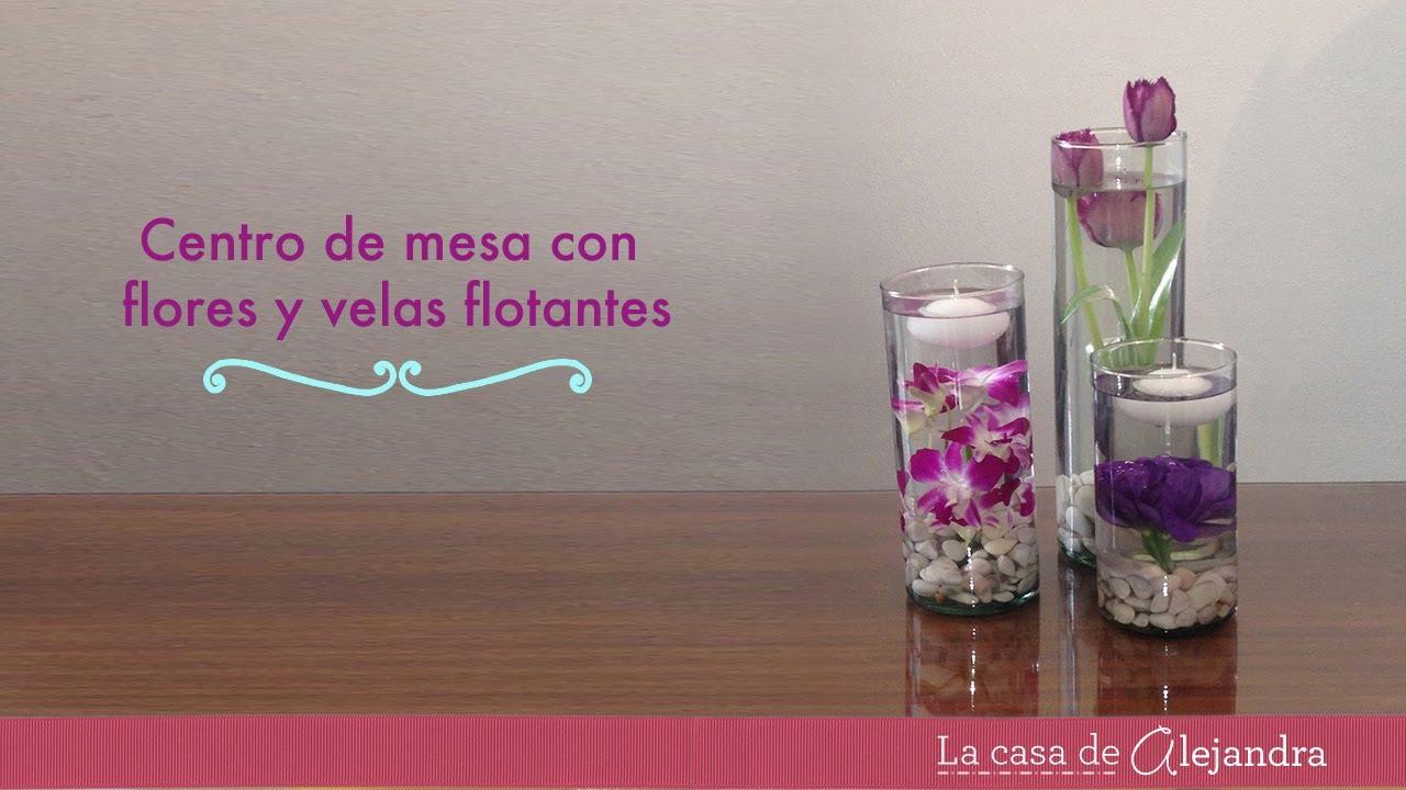 Centro de mesa con flores y velas flotantes diy centerpiece with flowers floating candles - Centro de mesa con flores ...