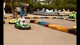 mum, dad and Joel crashing on the go-karts
