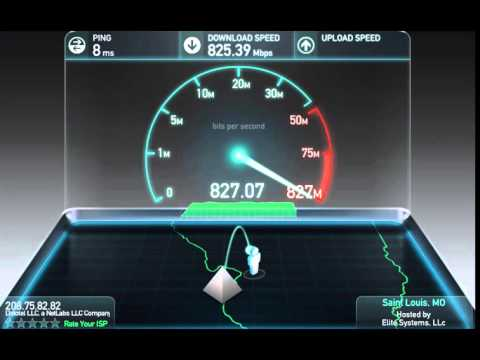 Real Gigabit Internet SpeedTest (900+ mb/s upload!) -- Globe Building in St. Louis, Missouri