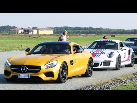 Supercars Crazy Speed Test on Airport Runaway at Cars & Coffee 2016 Turin - Biella Airport, Italy