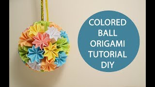 Cool Colored Ball Origami Paper Flowers Kusudama Tutorial DIY