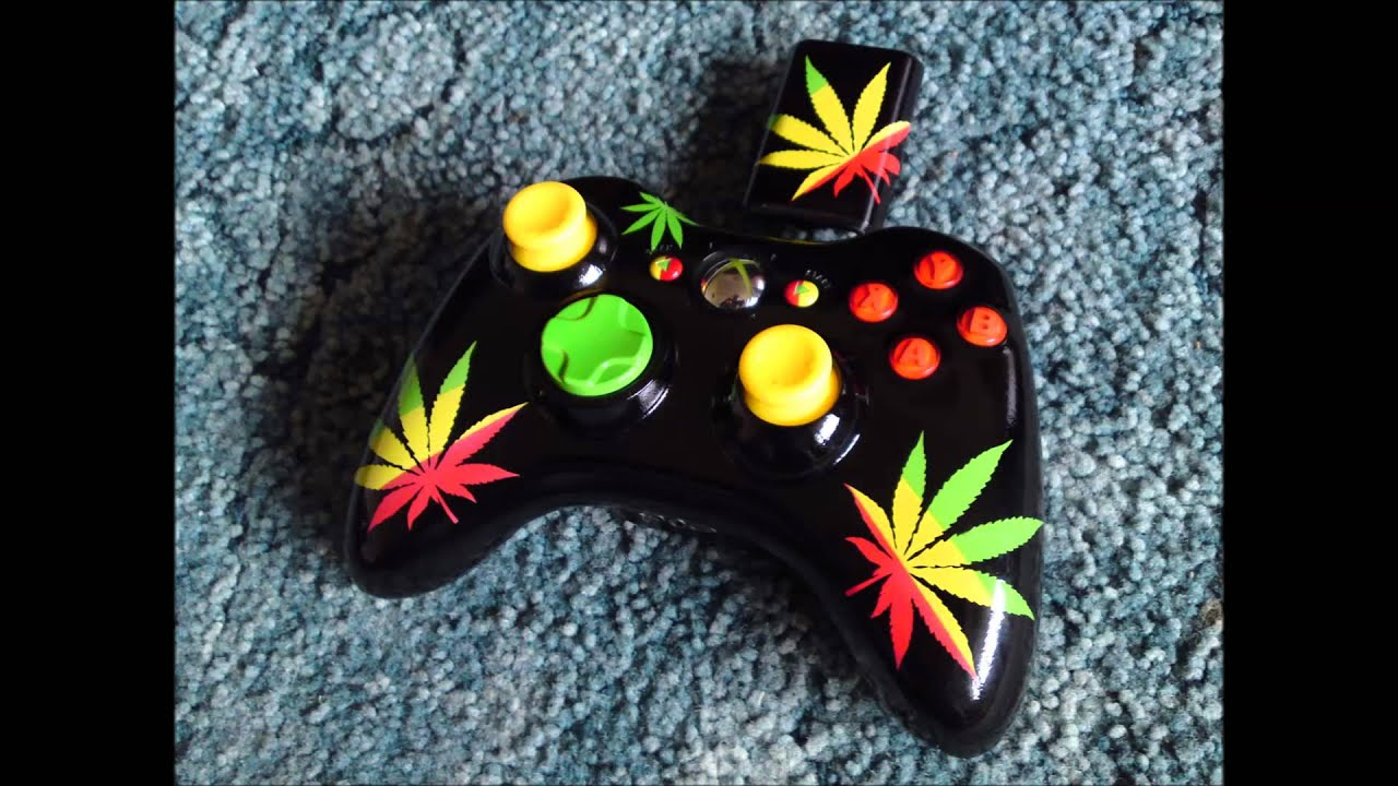 Custom Airbrush Painted Cannabis Leaf Rasta Xbox ...