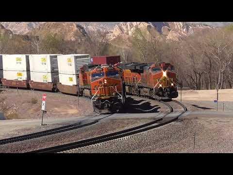 Multiple Train Meets at Cajon jct. Cajon Pass - 2 BNSF 1 UP - 2/17/2018