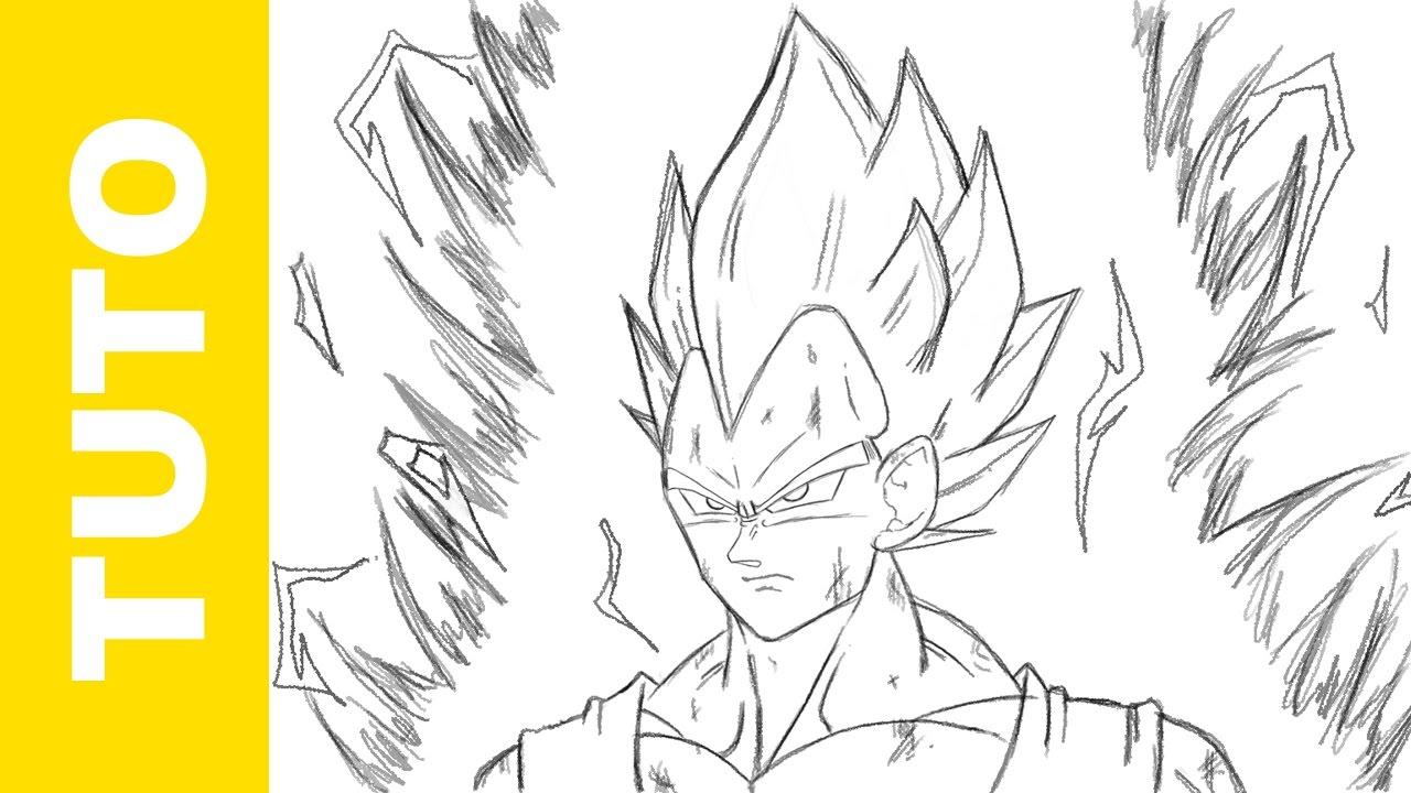 Comment dessiner Vegeta SSJ Dragon Ball Z - YouTube