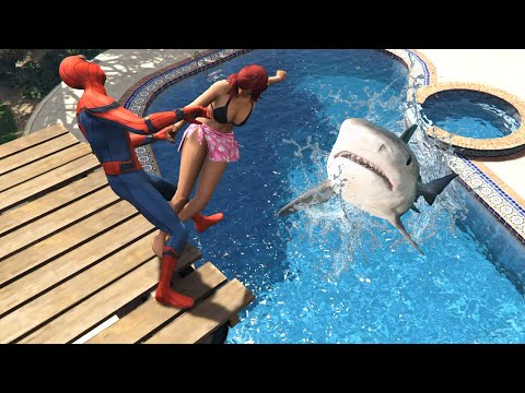 GTA 5 Water Ragdolls | SPIDERMAN Jumps Ep.74 (Funny Moments)