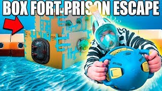 24 HOUR BOX FORT PRISON ESCAPE ROOM UNDERWATER!! ?? Underwater Box Fort Building & More!