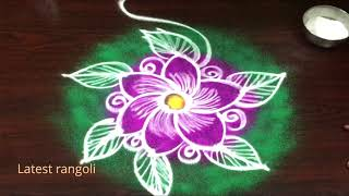 latest rangoli flower design sravanamasam special || freehand kolam || creative rangoli designs