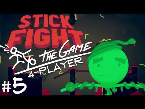 Stick Fight: The Game - #5 - SNAKE MODE (4 Player Gameplay)