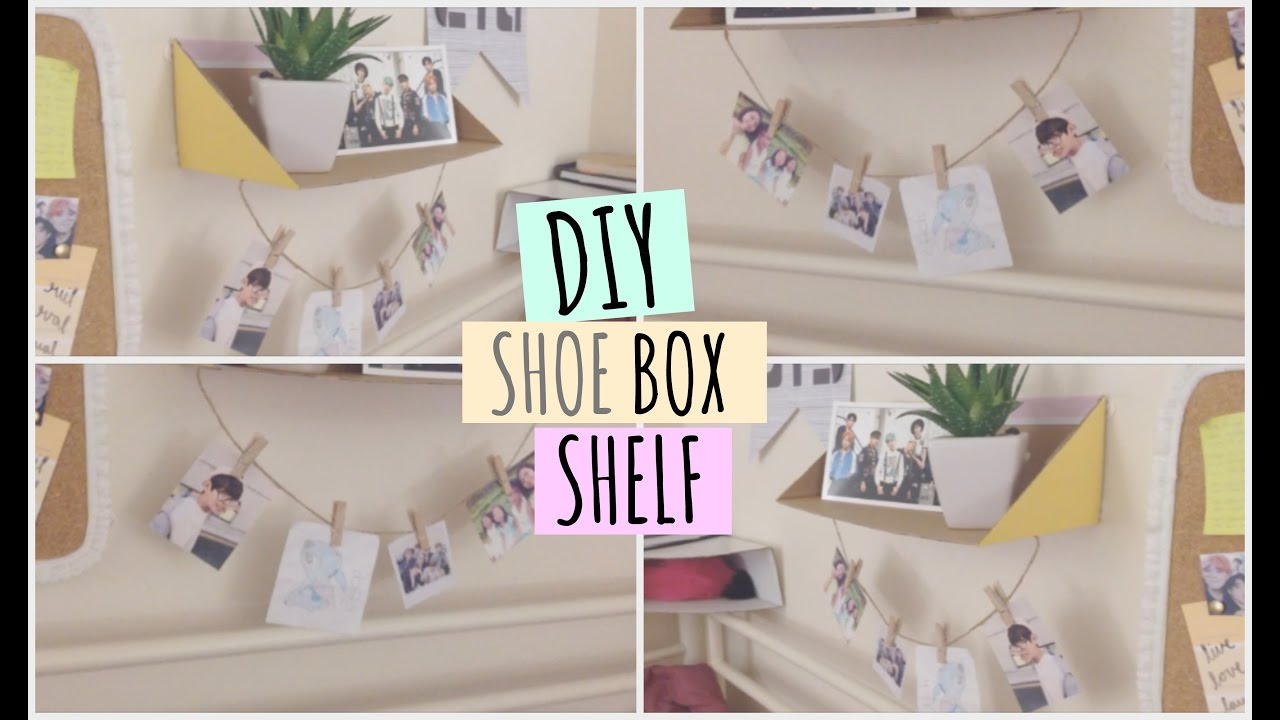 diy shoe box shelf ♡ - youtube