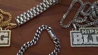 316L Stainless Steel Cuban and President Bracelets From HipHopBling.com