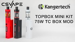 Kangertech Topbox Mini Kit 75W TC Box Mod Product Overview(You can find this product here: https://csvape.com/shop/mods/box-mods/kangertech-topbox-mini-kit/ This kit include the TOPTANK Mini and KBOX Mini TC-75, ..., 2016-02-04T01:07:35.000Z)