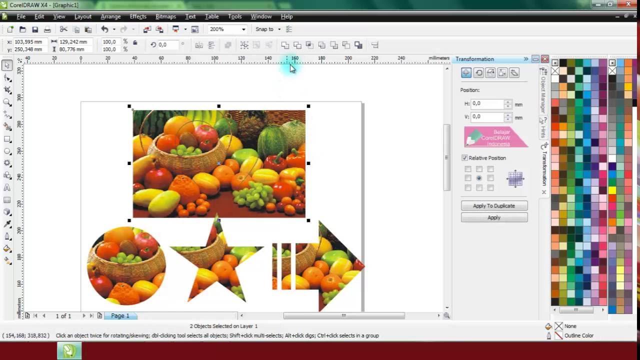 Cara Memotong Objek Dengan Coreldraw Belajar Coreldraw Youtube