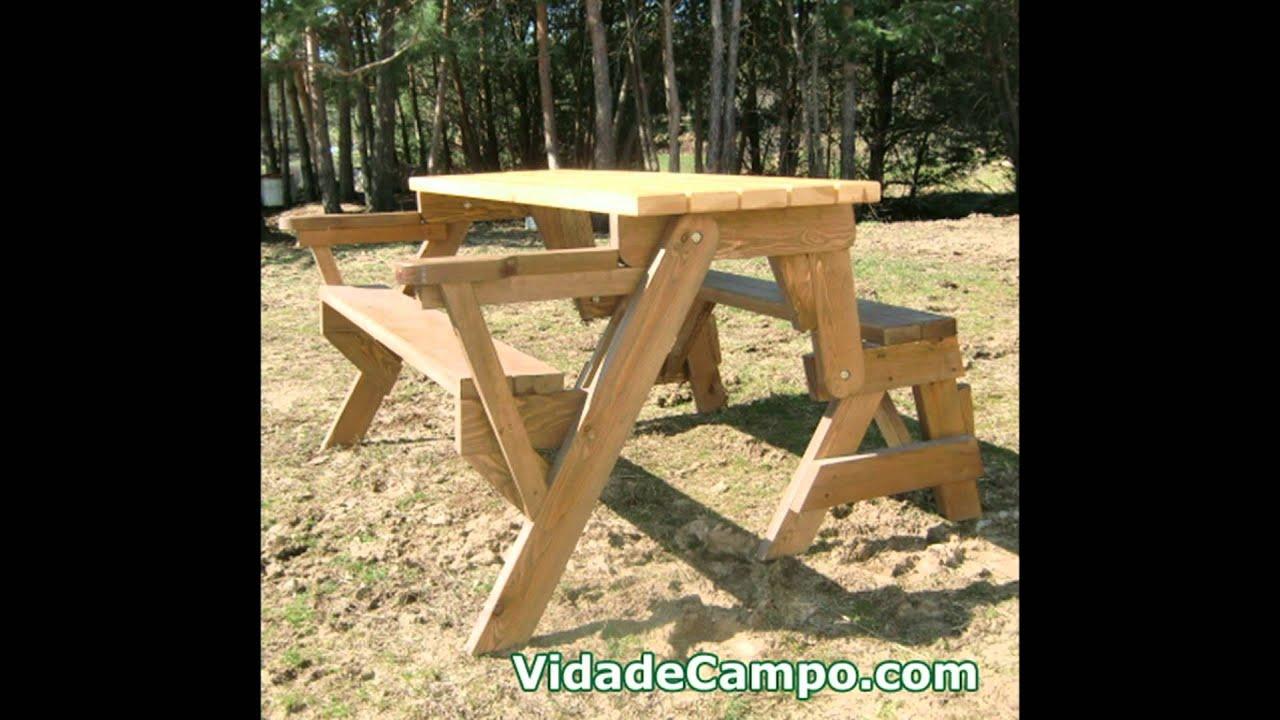 Muebles de jardín. Banco-mesa artesano de madera - YouTube