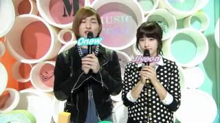 [101113] MBC Music Core Onew Ji Yeon MC couple