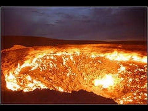 Горящий газовый кратер.Туркменистан(Turkmenistan, natural gas)