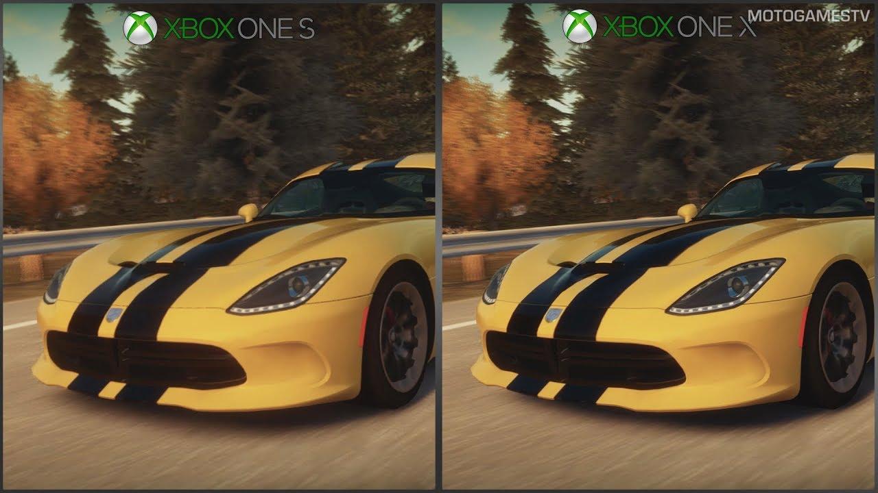 forza horizon xbox one s vs xbox one x 1080p graphics comparison