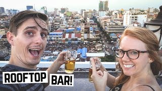 BEST VIEW OF PHNOM PENH! - Rooftop Bar + Delicious Donuts! (Cambodia Vlog)