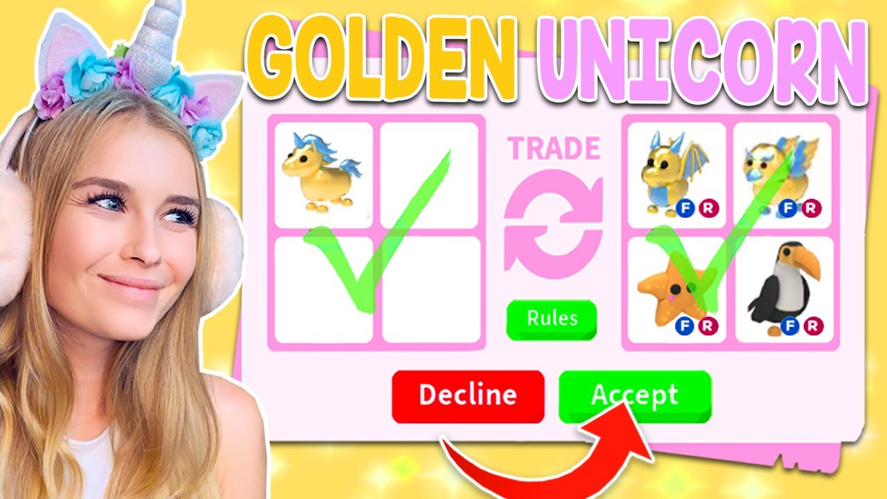 Trading Golden Unicorns Only In Adopt Me Roblox Youtube