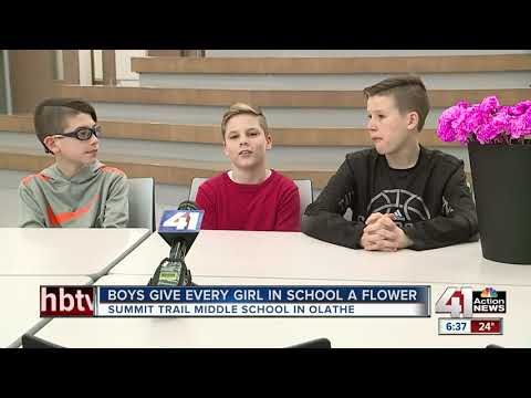 Andi and Kenny - 3 boys buy Valentine's Day flowers for every girl, woman at middle school