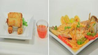 صينية سمك بوري زيت وليمون - سبرنج رولز بالتونة | شبكة و صنارة حلقة كاملة