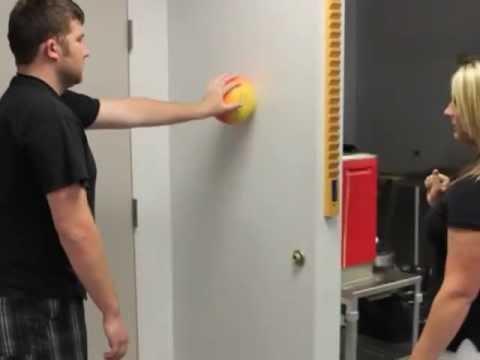 Wall Ball Shoulder Scapular Stabilization - YouTube