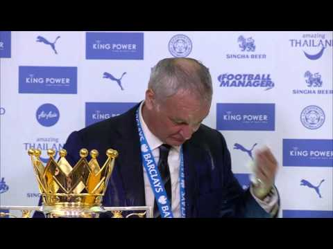 Leicester players soak Claudio Ranieri & journalists in champagne