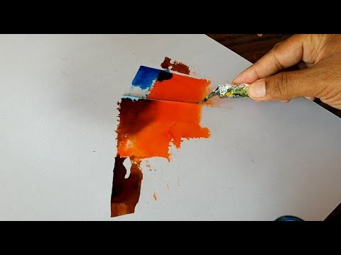 Abstract Painting Demonstration Ink Palette Knife