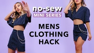 DIY *NO-SEW* SERIES: men's button-up clothing hack!