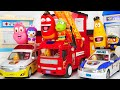 Larva Police car, Ambulance, Fire Truck move! Let's arrest the villain with Pororo! #PinkyPopTOY