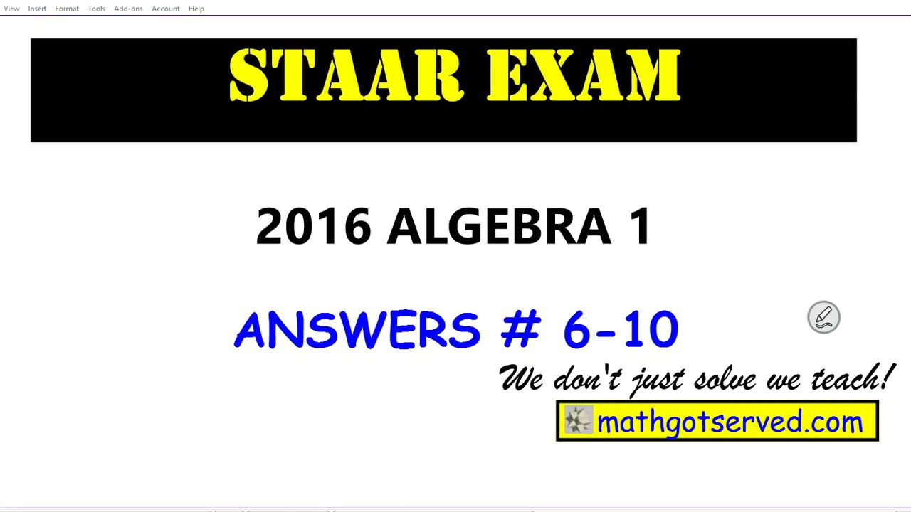 algebra 1 staar exam answers 2016 6 to 10 assessment. Black Bedroom Furniture Sets. Home Design Ideas