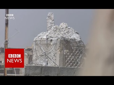 EXCLUSIVE pictures Of Nuri Mosque and its leaning minaret after destruction- BBC News