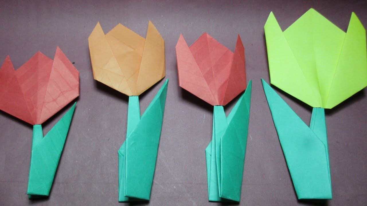 Paper flower how to make beautiful paper tulip flowersorigami paper flower how to make beautiful paper tulip flowersorigami flower instructionsdiy paper craft jeuxipadfo Image collections