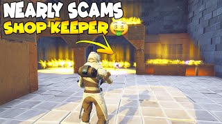 Rich Scammer presque Scams Shop Keeper! 😱 (Scammer Get Scammed) Fortnite Save The World