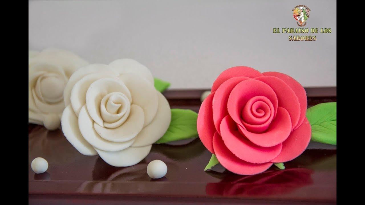 Como hacer rosas de fondant el paraiso de los sabores - Como hacer flores ...