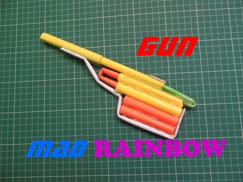 How to Make a Paper Rainbow Mad Gun - Easy Tutorials