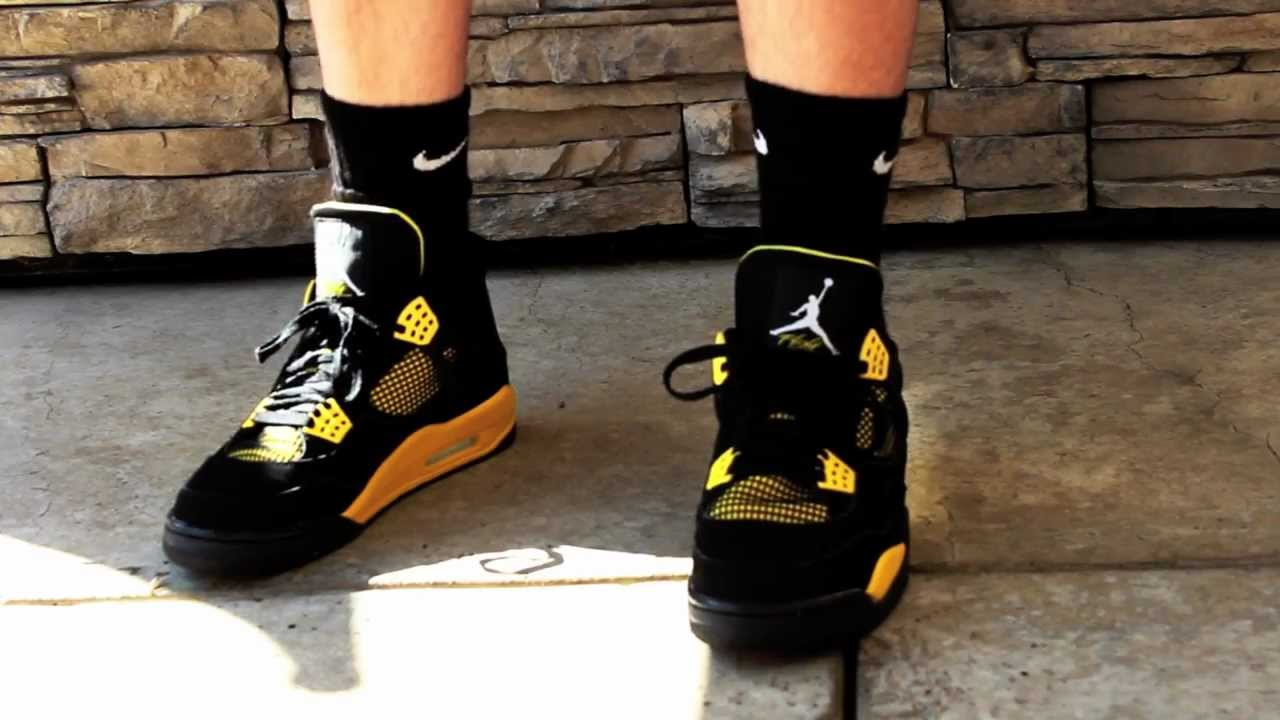 2a7c3ad0ba4ce Air Jordan 4 Thunder 2012 Release On Feet HD - YouTube Nike ...