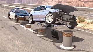 BeamNG drive - Progressive Height Bollards car Crashes