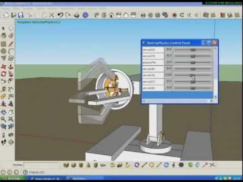 Sketchup 8 e Sketchyphysics - braço robótico (1) - em português BR