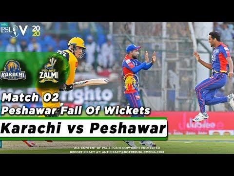 Peshawar Fall Of Wickets   Karachi Kings Vs Peshawar Zalmi   Match 2   HBL PSL 5   2020