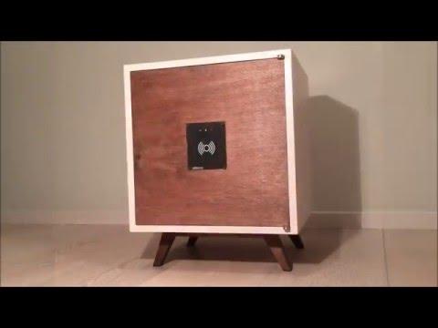 Homemade wooden safety deposit box
