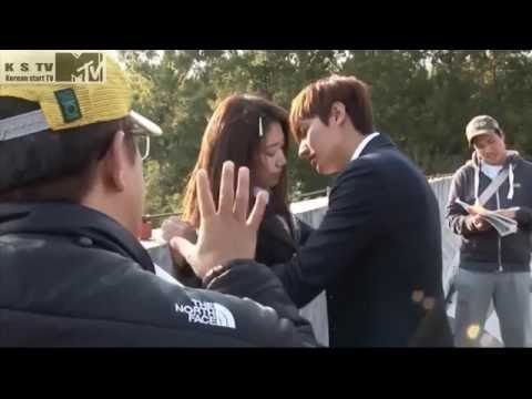 min ho and shin hye kissing scenc, The heirs lee min ho and park shin hye behind the scenc