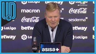 """Esto comentó el técnico del Barcelona, Ronald Koeman, después de empatar 3-3 ante el Levante.  """"Como entrenador eres responsable. En el descanso, hemos hablado de mejorar en defensa y en no bajar la intensidad. Estoy tocado. Teníamos esperanzas. Íbamos 0-2. No esperas un empate"""".  #Levante #Barcelona #LaLiga"""