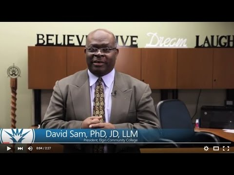 Dr. Sam welcomes Elgin Community College students to a new semester