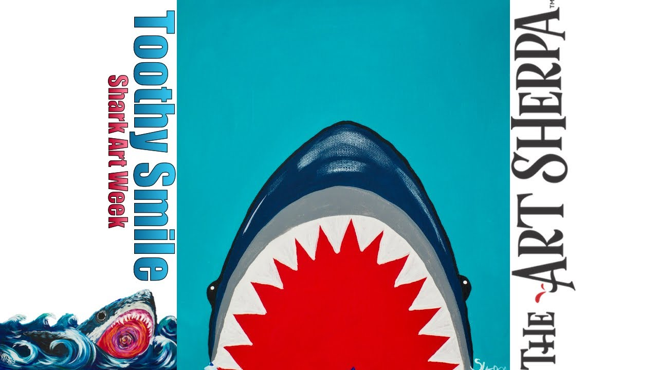 super easy great white shark acrylic canvas painting full tutorial
