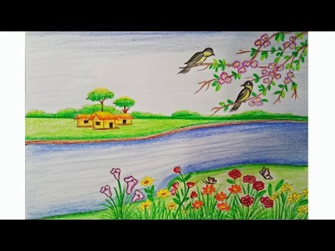 How to draw a scenery of spring season Step by step (very easy)