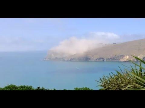 Christchurch, New Zealand M5.8 Earthquake causes Whitewash Head cliffs to crumble
